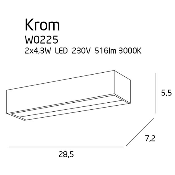 MAX LIGHT KROM KINKIET W0225