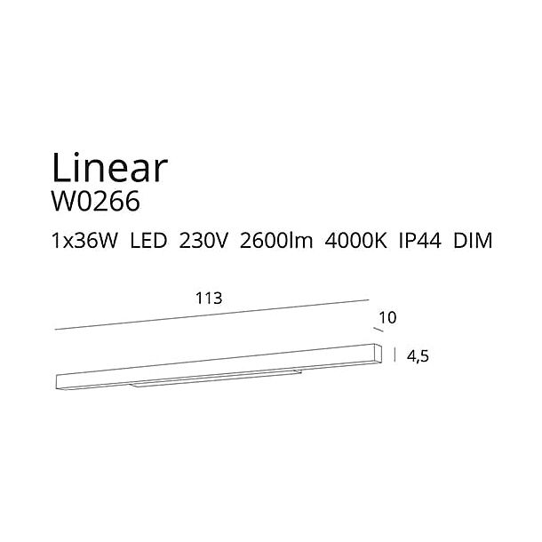 MAXLIGHT W0266 KINKIET LINEAR IP44 CZARNY